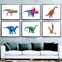 Watercolor Cartoon Dinosaur Animals Nordic Posters And Prints Wall Art Canvas Painting Pictures For Living Kids Room Decor