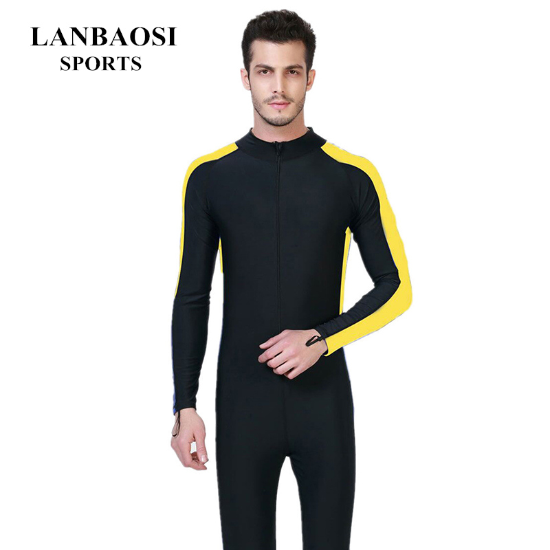 Primavera Verão UV de Proteção Solar Snorkel óculos de Natação Surf Fited  Terno dos homens Lycra Wetsuit Zip Frente Tripulação 46b68aca4e553