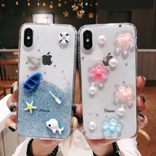 Luxury Glitter Bling Case For iphone XS MAX XR X 6 6S 7 8 Plus Fashion Flower Dolphin Anchor Shining Phone Cases Cover Capa