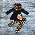 Venta caliente OTOÑO/Invierno de Halloween impresión dulces de maíz 3 unidades de la bufanda naranja negro pantalón bebé niñas boutique de ropa para niños top juegos