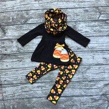 Горячий продавать ОСЕНЬ/Зима Хэллоуин кукурузы конфеты печати 3 шт. шарф черный оранжевый брюки новорожденных девочек бутик одежды дети топ наборы