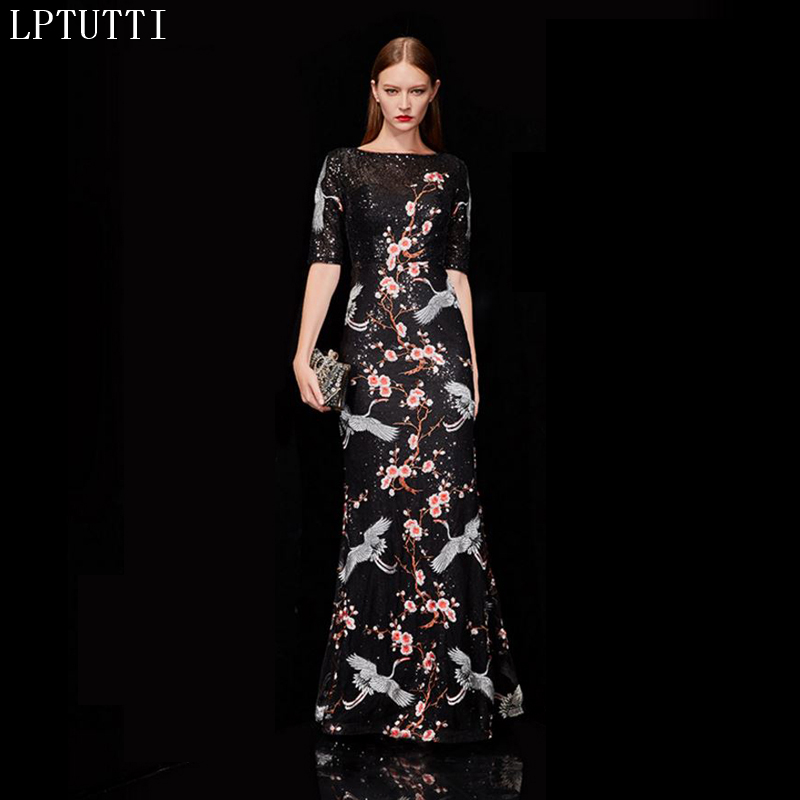 LPTUTTI Embroidery Sequin Gratuating New For Women Elegant Date Ceremony Party Prom Gown Formal Gala Luxury Long   Evening     Dresses