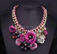 Statement Chunky Gold Chain Crystal Rose Flower Pendant Necklaces Women Big Choker Necklace Fashion Jewelry 2014