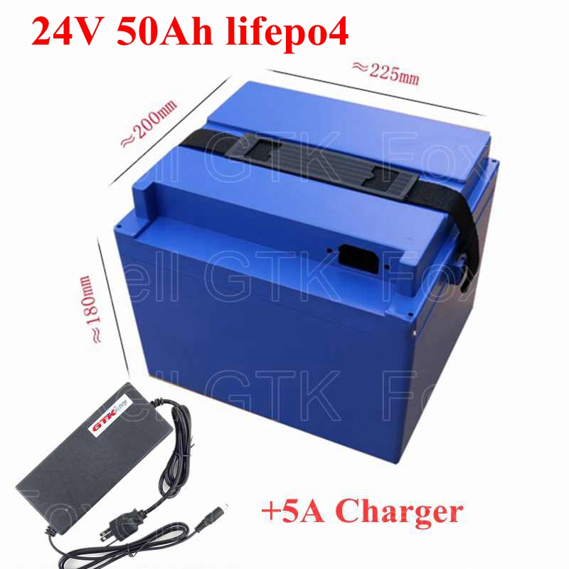 Power Source Brand 24v 50ah Lifepo4 Ebike Battery 1000w 24v Lithium Battery 12v 24v 50ah Electric Bike Battery With 50a Bms Replacement Batteries 5a Charger