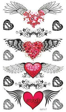 Tatouage Temporaire Autocollant Sur Taille Aile D Ange Coeur Amour