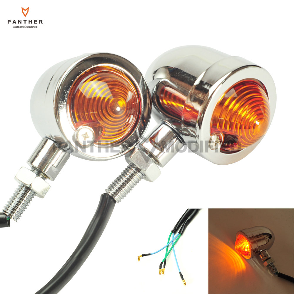 Panhead Chrome Motorcycle Turn Signal Lights Orange Lens WINKER COMP Case for Harley Cruiser Chopper Custom Bobber ...