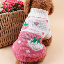 Fashion Heart & Strawberry Pattern Pet Dog Sweater Autumn Winter Thermal Wool Dog Clothes Pet Clothing Supplies Dropshipping