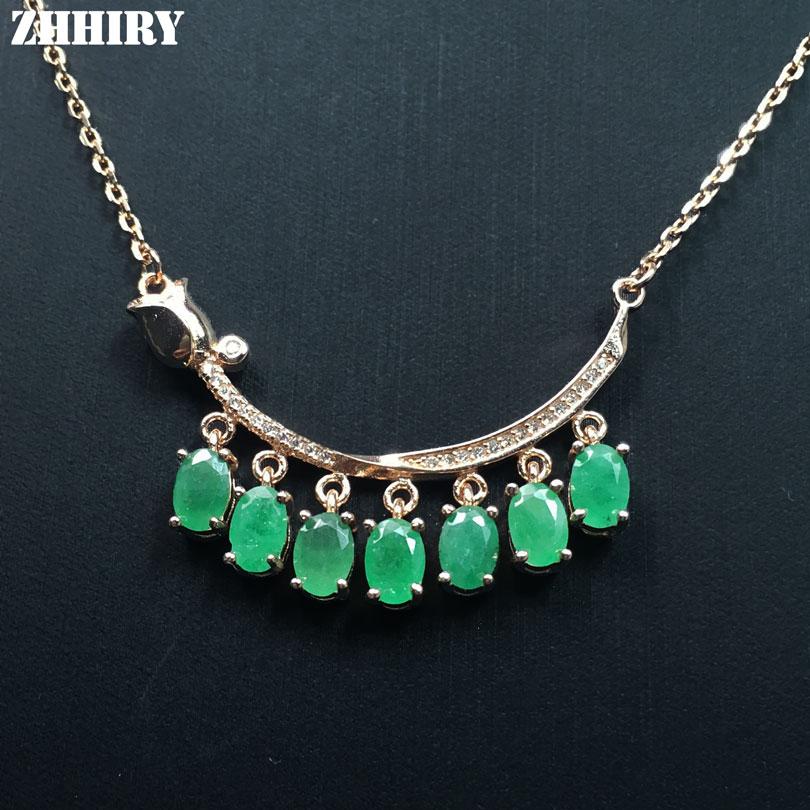 ZHHIRY Green Emerald Halskette Anhänger natürlichen Edelstein - Edlen Schmuck - Foto 1