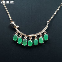 Zhhiry Зеленый Изумрудный Цепочки и ожерелья подвеска Природные драгоценного камня Ювелирные изделия из натуральной 925 серебро