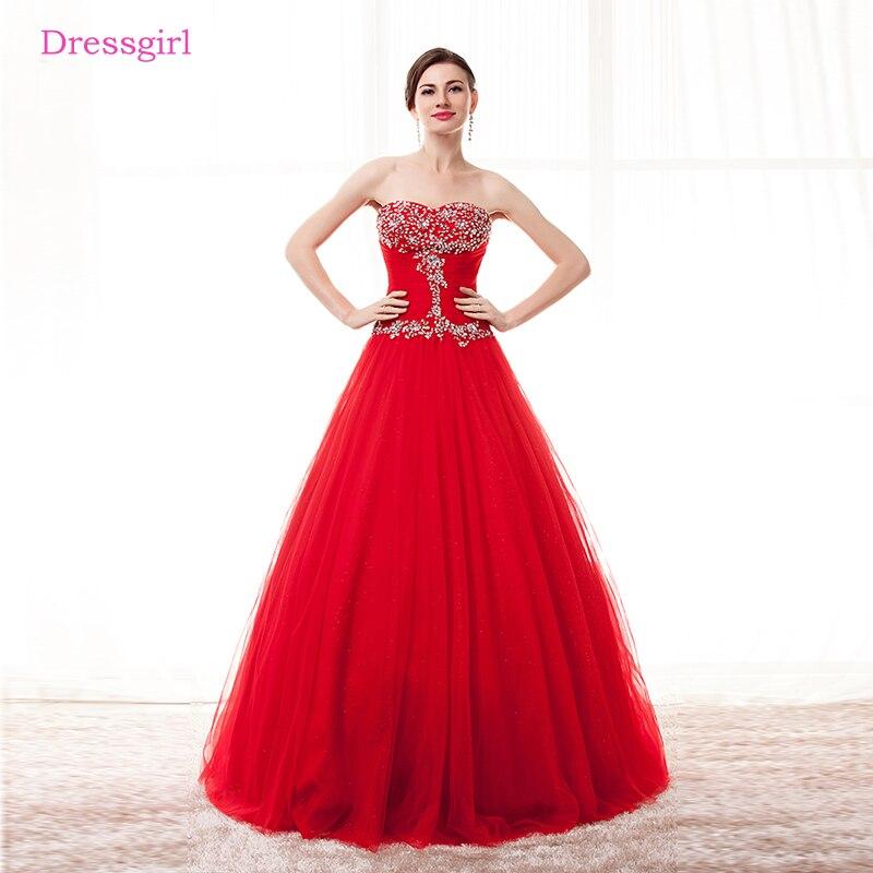 100% QualitäT Red Günstige Quinceanera Kleider 2019 Ballkleid Schatz Bodenlangen Tüll Spitze Perlen Kristalle Bonbon 16 Kleider