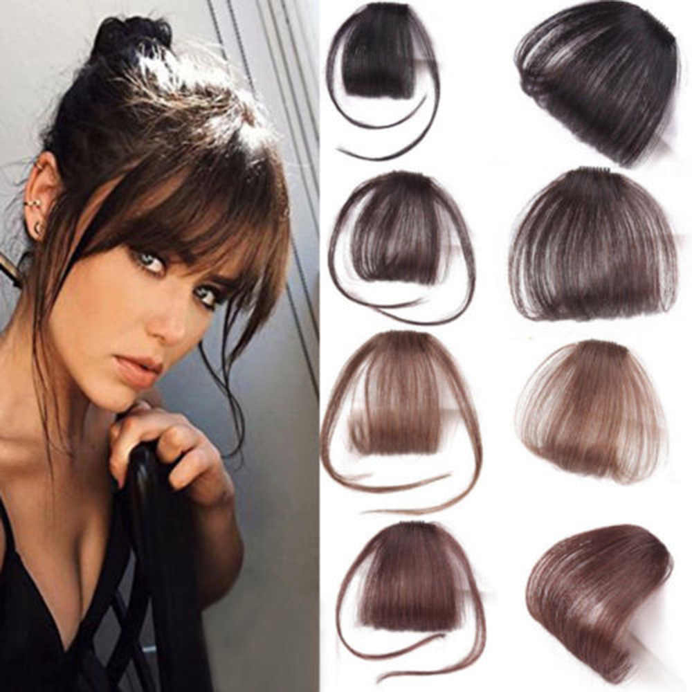 1Pcs Clip in Hair Bangs Hairpiece Synthetic Fake Bangs Hair Piece Clip in Hair Extensions Mini Wig Air Horns Lengthen Bangs