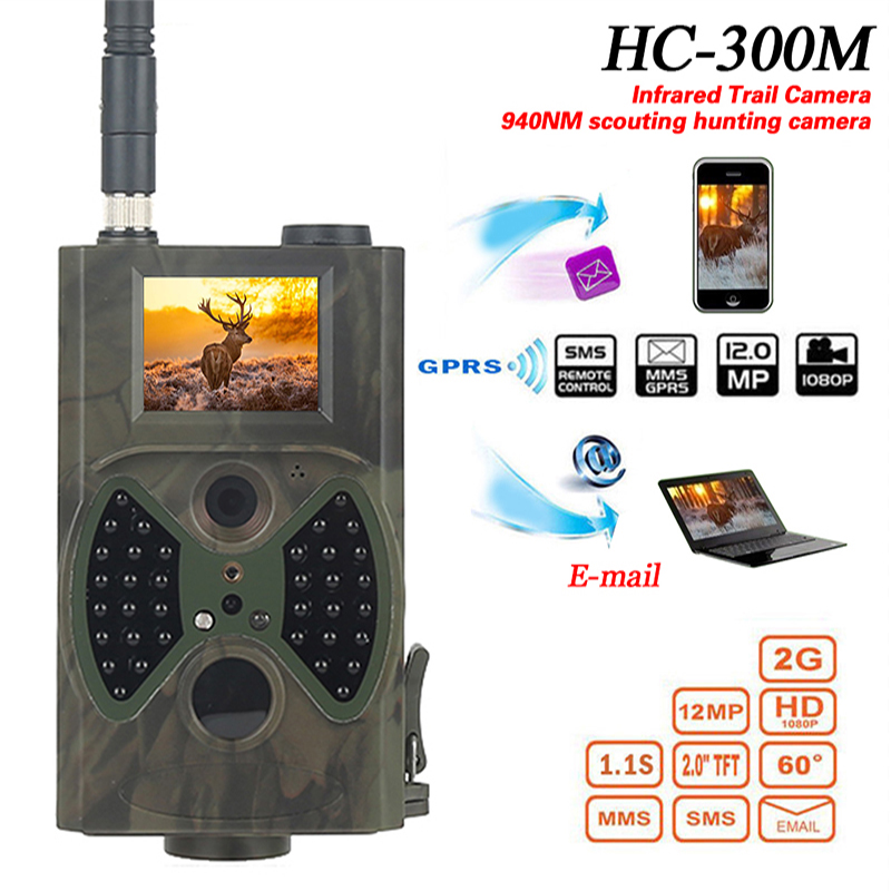 Hc300m Hunting Camera MMS 12MP 1080P Photo Traps Night Vision Wildlife Camera Trap Infrared Hunting Trail Chasse Recorder hc300m hunting camera gms 12mp 1080p photo traps night vision wildlife infrared hunting trail cameras hunt chasse scout
