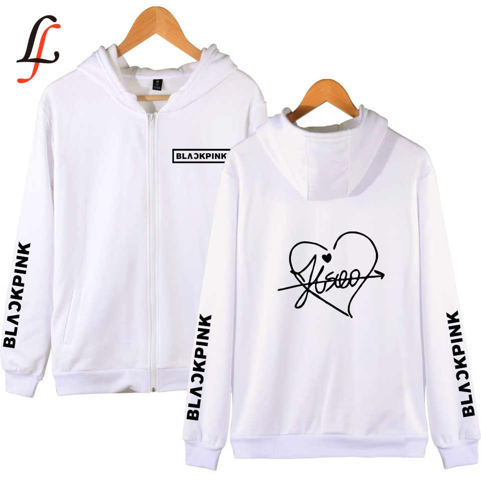 Blackpink Harajuku Kpop Zipper Hoodies Sweatshirt Women Men Shein Streetwear Oversize Outwear Hip-Hop Bangtan Boys Jimin Clothes