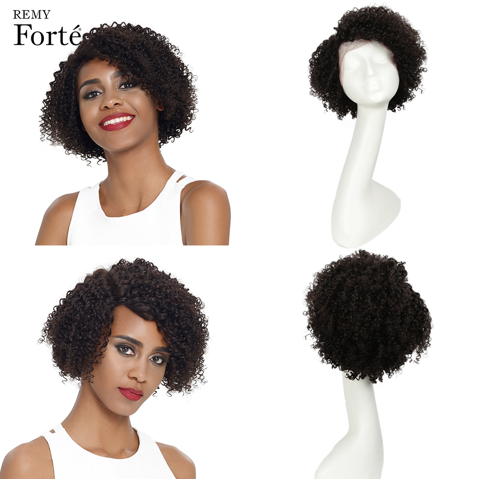Remy Forte Lace Front Human Hair Wigs Curly Real Short Human Hair Wig 100% Remy Brazilian Hair Wigs U Part Lace Wigs For Women