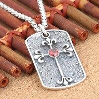 S925 jóias de prata pingente de prata por atacado de moda Coreano seção transversal vermelho e prata tag