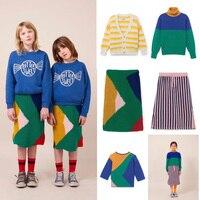 Niños suéter Bobo Choses 2018 invierno pantalones de punto geométricos niños  ropa conjunto bebé niñas vestido 9e751a6109e3