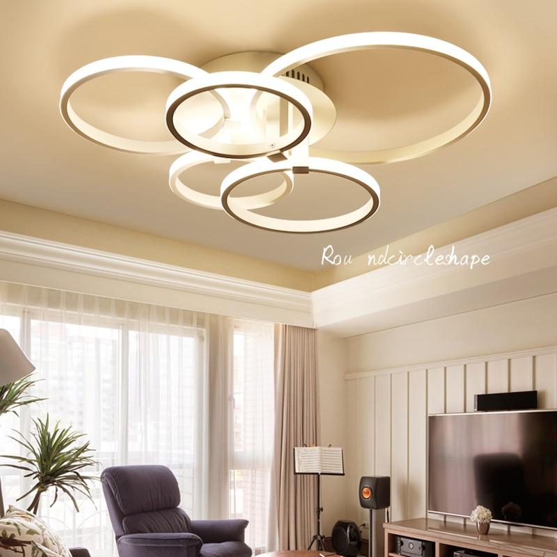 Rectangle Acrylic Aluminum Modern Led ceiling lights for living room bedroom AC85-265V White Rings Ceiling Lamp Fixtures silver led 9w acrylic ceiling light with 2 lights chrome finish size 65 65 20cm 85 265v
