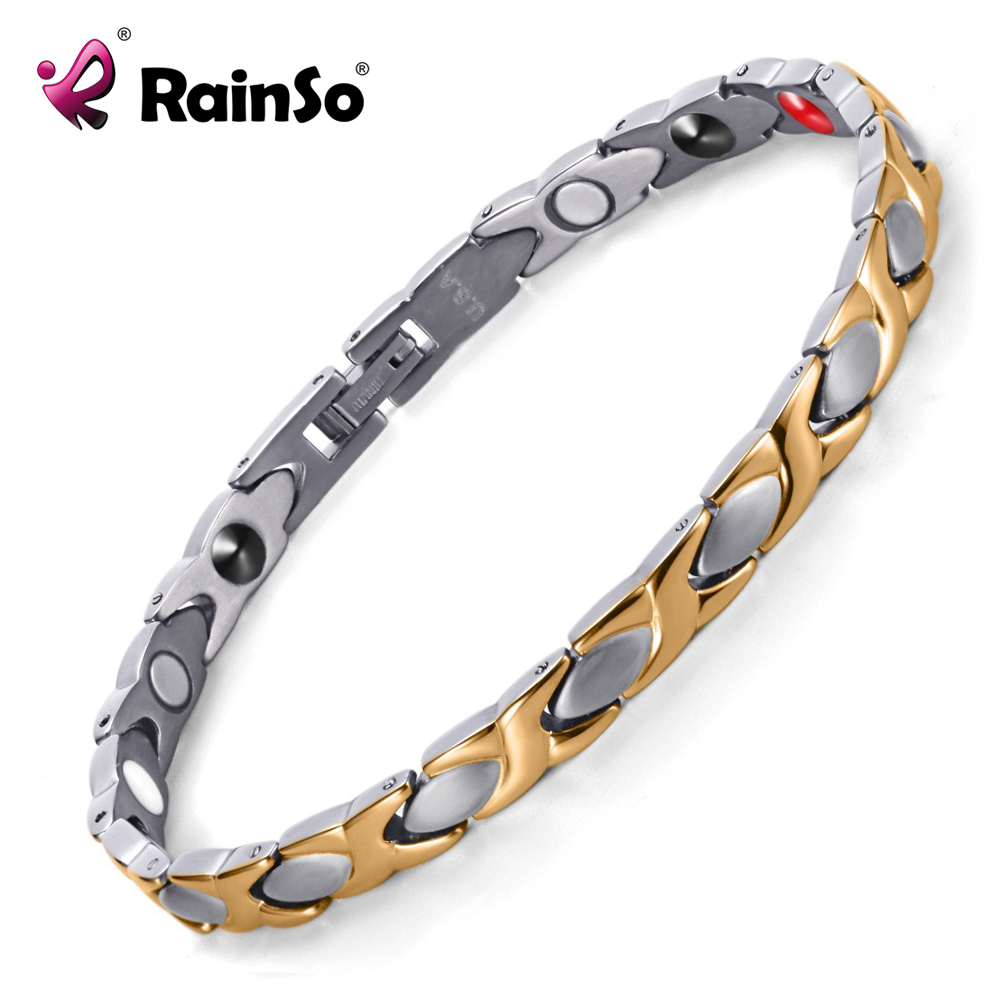 Rainso Women Fashion Bracelet & Bangle Magnetic Health Jewelry Silver Gold Color Titanium Hand Chain High Polished OTB-016