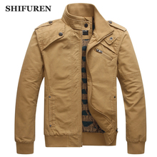 SHIFUREN New Autumn Causal Men Jakcet and Coats 100% Cotton High Quality Male Outerwear Stand Collar Overall Style Size M-3XL(China)