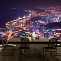 Free Shipping Aesthetic City Night Scene 3D Three Dimensional Wallpaper Wall Painting European Style Personalized Building