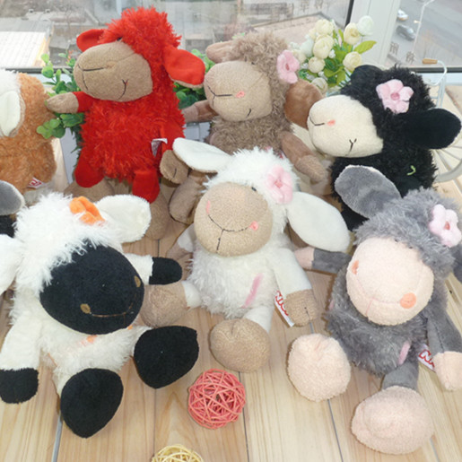 NICI plush toy stuffed doll cute soft sheep lamb wearing flower on head bedtime story kid baby birthday lover christmas gift 1pc 1pcs 35cm 5 colors cute stuffed plush toy toot sheep soft doll with scarf toys gift for girl free shipping