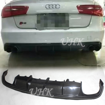 UHK Carbon Fiber Rear Bumper Lip Rear Diffuser Bodykits Accessories Protector For Audi S6 Trunk Car Styling Splitter Racing