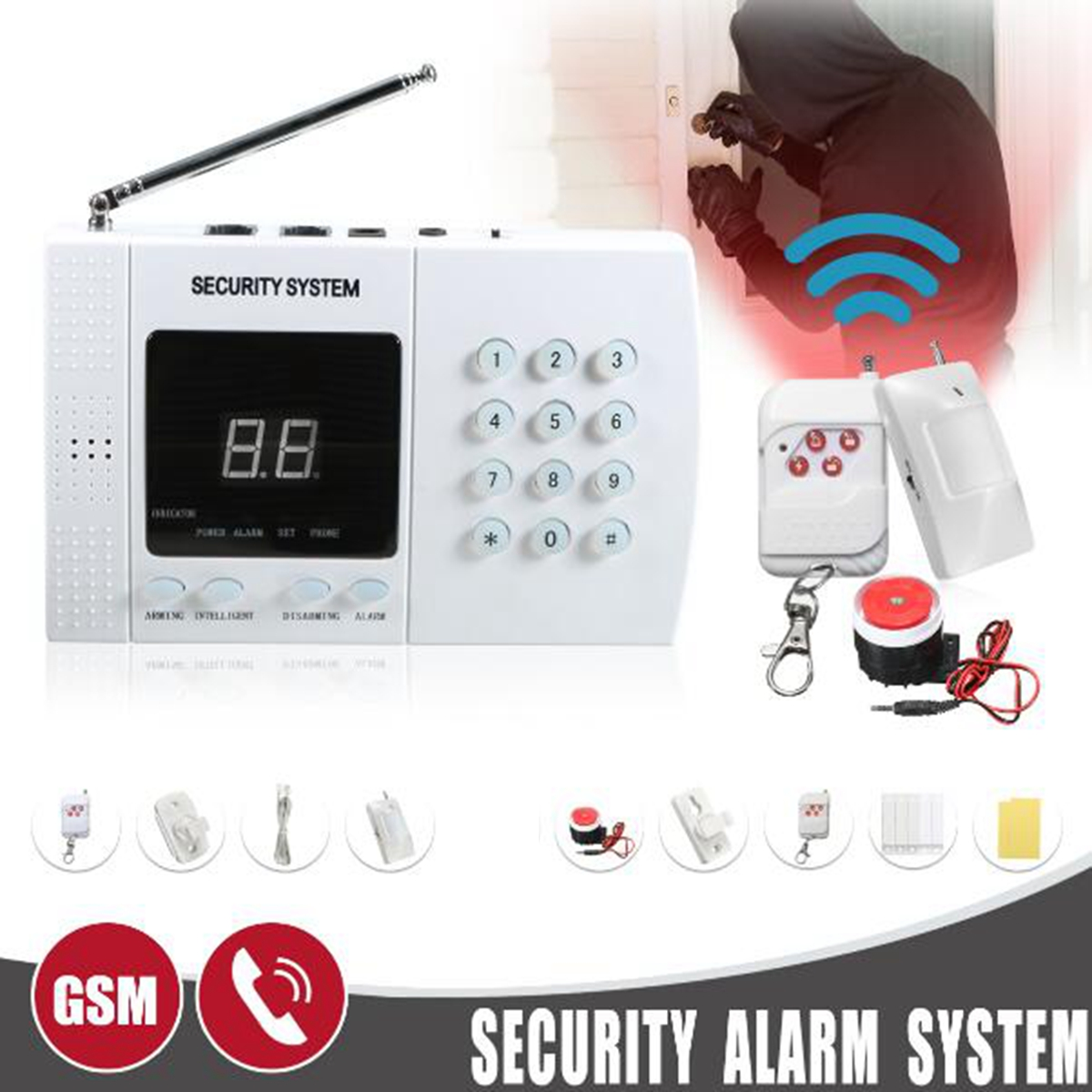 500ft Zones Wireless PIR Home Security Burglar Alarm System Auto Dialing Dialer Prevent Theft Detect Gas Leakage Wall Mount chuangkesafe wholesale or retail new wireless 99 zones pir home security pstn burglar alarm system auto dialing easy diy