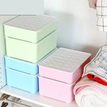Underwear Storage Box Three-Piece Set Combination Lingerie Socks Lattice Household Plastic Finishing