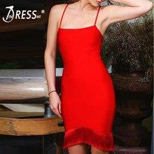 f6c23996c53 INDRESSME 2019 nouveauté Sexy De Mode Bretelles Dos Nu Mini Spaghetti Strap  Parti Tassel D été Femmes Lady robe lacée