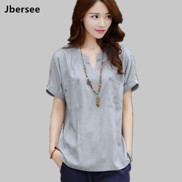 d6ad2bfb286712 Vestidos 2018 Summer Style Women Casual Stand Collar Short Sleeve Blouse  Women Tops Lady Cotton linen Shirt Blusas Plus Size S-3