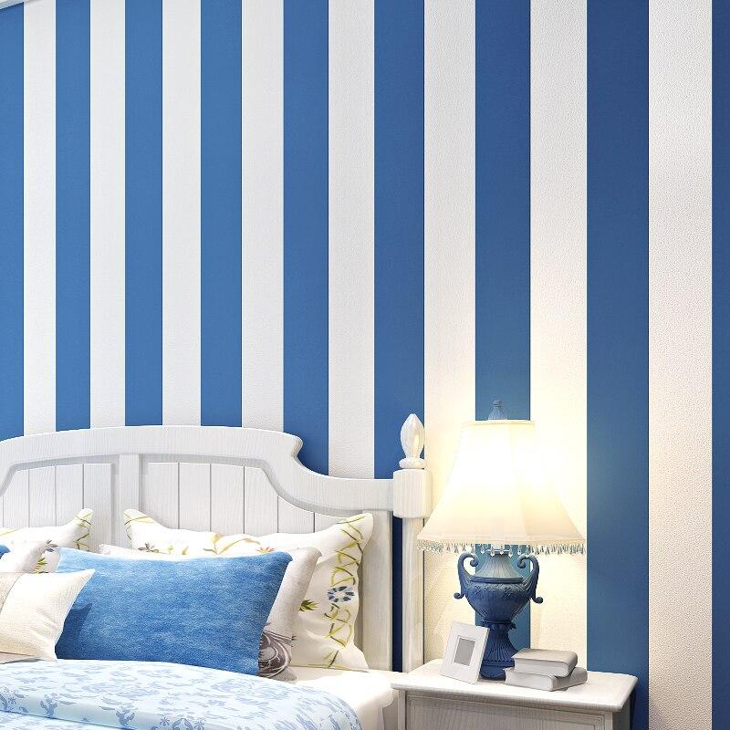 All match stripe blue paper brief modern sofa tv - Papel pintado a rayas verticales ...