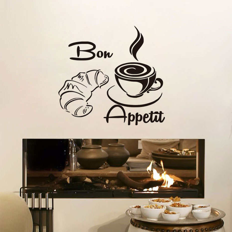 Bon Appetit Coffee Croissant Bread Wall Stickers Kitchen Restaurants Dining Room Decoration Vinyl Removable Wallpaper Home Decor
