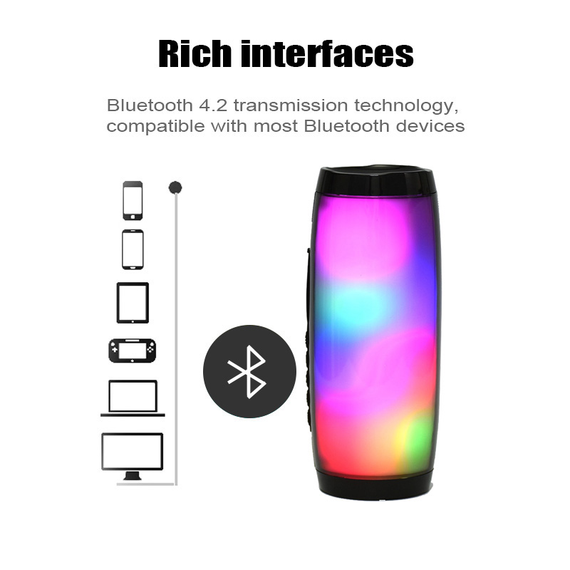 Image 4 - 10W Wireless Bluetooth Speaker with Colorful LED Light Outdoor Portable Column FM Radio TF with Mic Hands Free for Computer 2.1-in Portable Speakers from Consumer Electronics