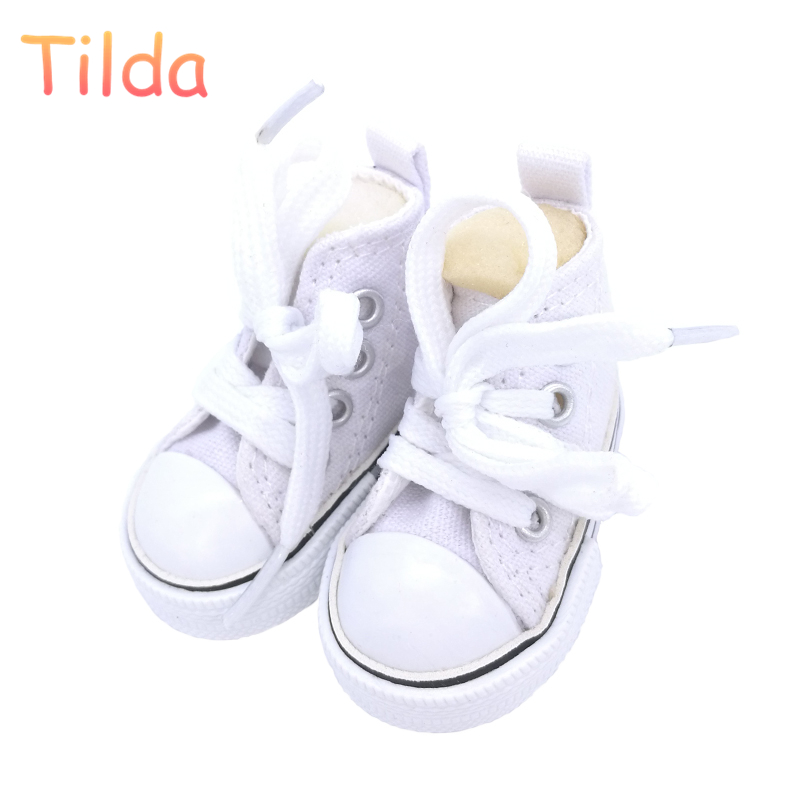 Tilda 6cm Canvas Sneakers For Dolls Paola Reina Minifee,Mini Toy Gym Shoes 1/4 Bjd Doll Sports Shoes Accessories For Dolls Toys