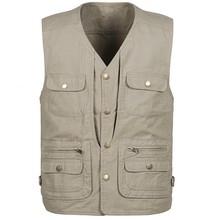 Plus Size L-5XL Men Fishing Vest Spring Summer Hunting Jacket Cotton Comfort Sportswear Masculino Multi Pockets Photograph Coat