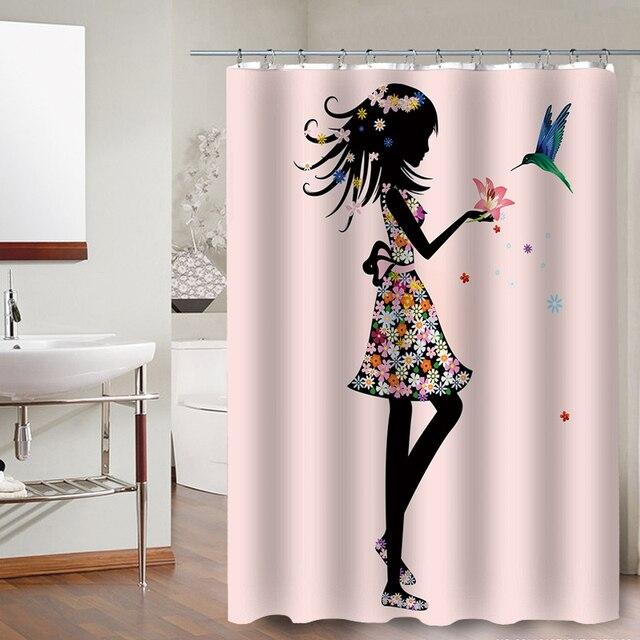 FOKUSENT Nuovo Design Colorato Ragazza del Fiore di Farfalla Uccello Tessuto In Poliestere Impermeabile Tende da Doccia per il Bagno