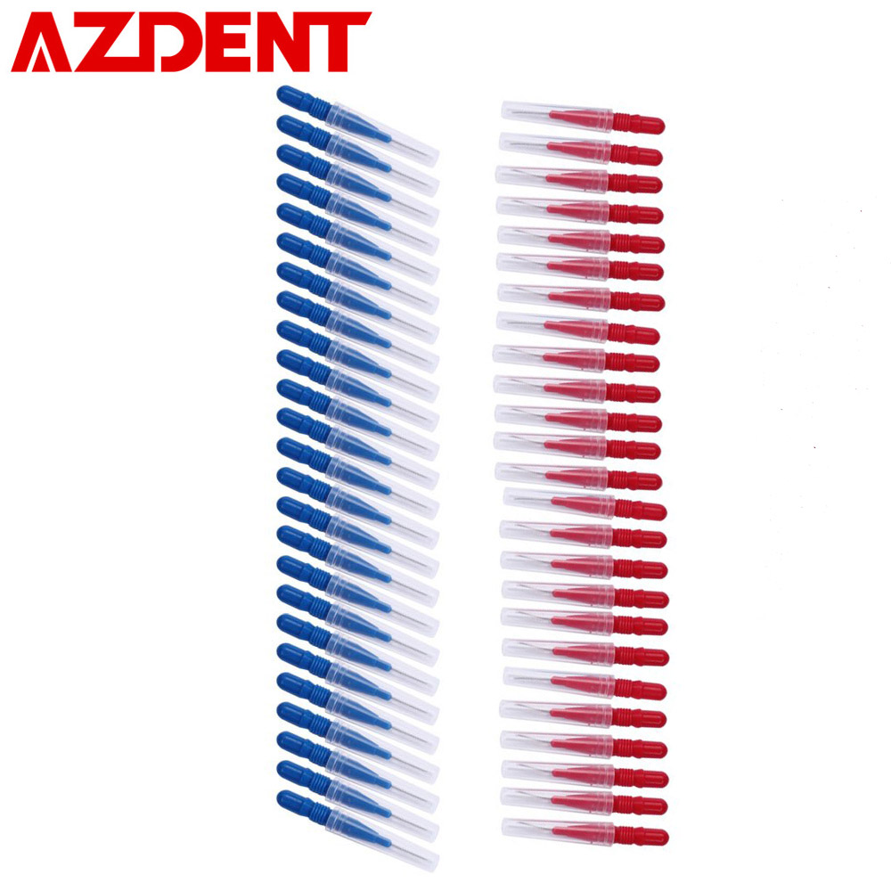 AZDENT 50PCS Interdental Brush Dental Flosser Tooth Floss Head Soft Toothpick Sticks Teeth Cleaning Oral Care Tooth Cleaner