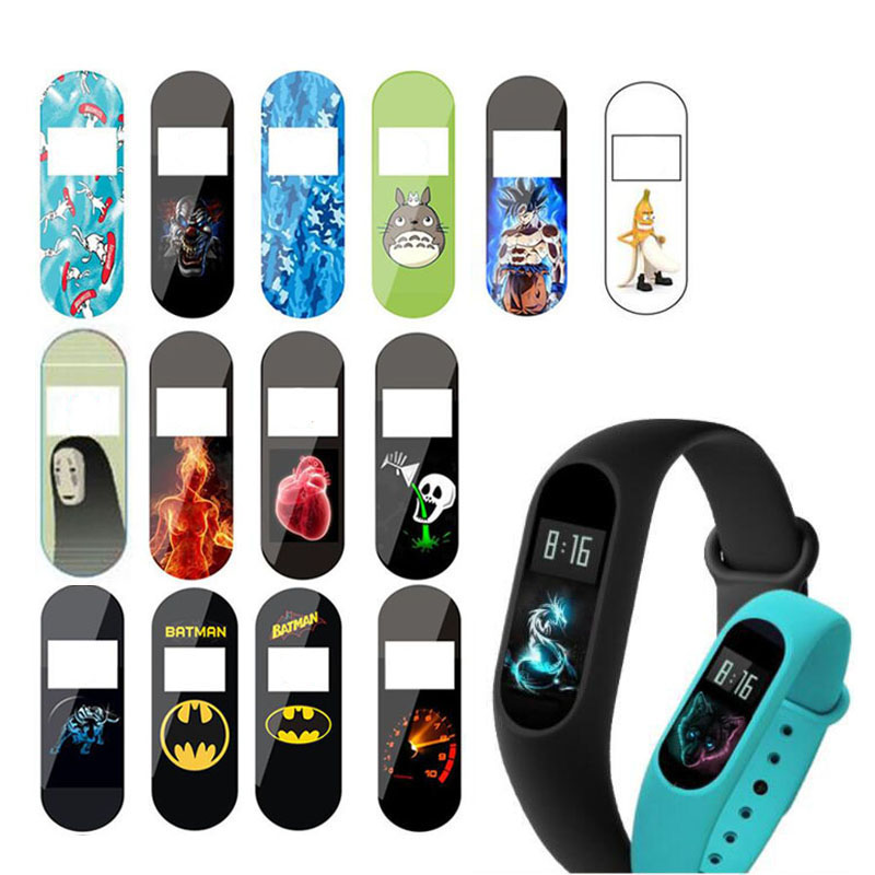 2pc Terror Devil Cartoon Colorful Protective Film Guard For Xiaomi Miband Mi Band 2 Band2 Full Screen Protector Cover Protection