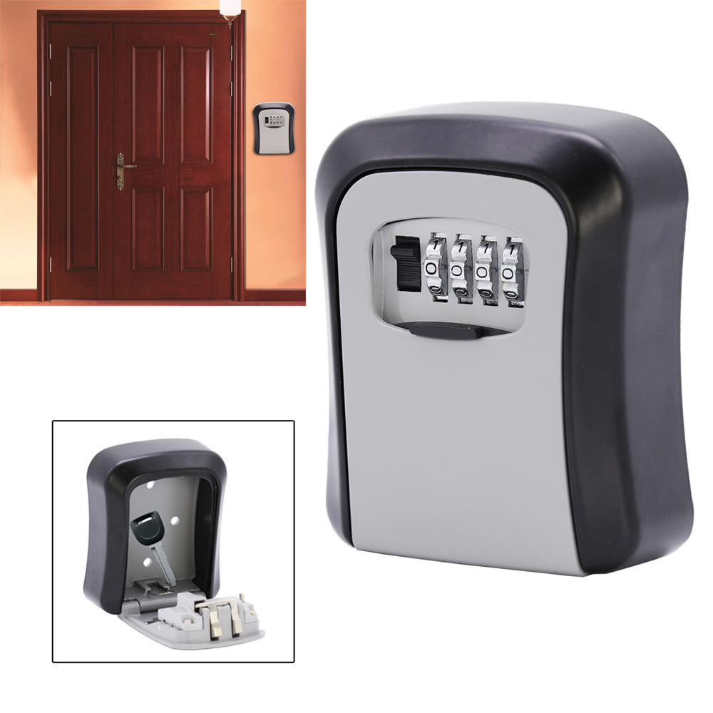 Key Storage Lock Outdoor Key Safe Box Metal Wall Mounted Key Storage Box 4 Digit Security Secret key safe box Password Lock
