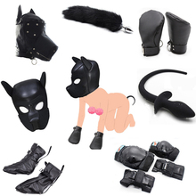 Dog Role Play Puppy Play Dog Hood Mask Dog's Paw Glove Crawl BDSM Bondage Dog Tail Plug Sexy Costume