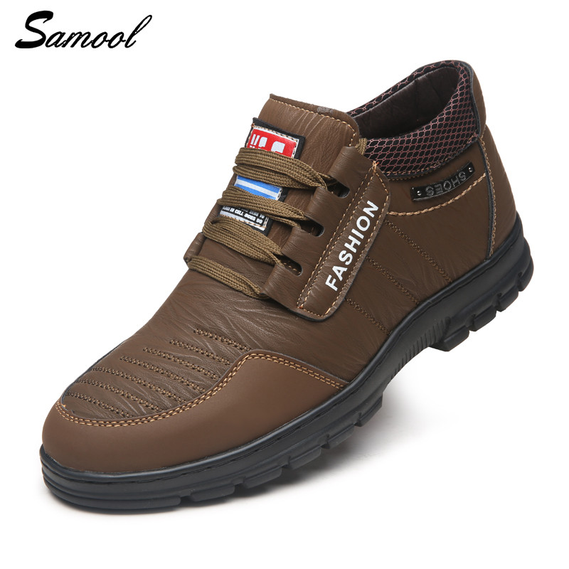 leather Shoes Men Sneakers Men Boots High top with fur warm snow boots outdoor Shoes lace up Men Casual Shoes ankle boots ky3 xiaguocai new arrival real leather casual shoes men boots with fur warm men winter shoes fashion lace up flats ankle boots h599