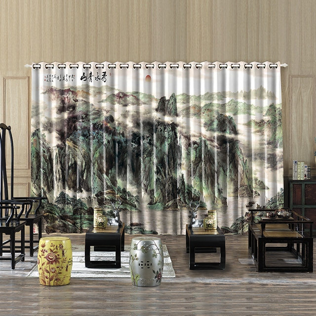 Custom Made 2x 200x260cm Window Drapery Dressing Wave Curtain Scenery Curtains  Office Mountain Sunrise Boat Pines