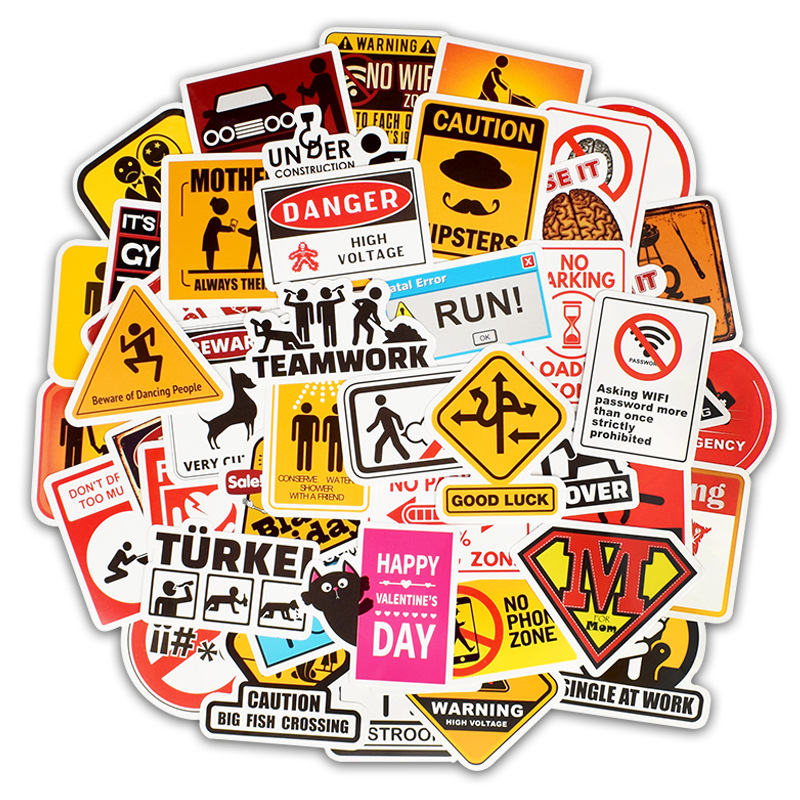 50PCS Warning Computer Stickers Danger Banning Signs Reminder Vinyl Laptop Decal Sticker To DIY Laptop Motorcycle Snowboard Car