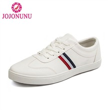 JOJONUNU Hot Sell Men Casual Shoes Lace Up Round Toe Stripe White Shoes Outdoor Club Leisure Flats Hombre Shoes Size 39-44