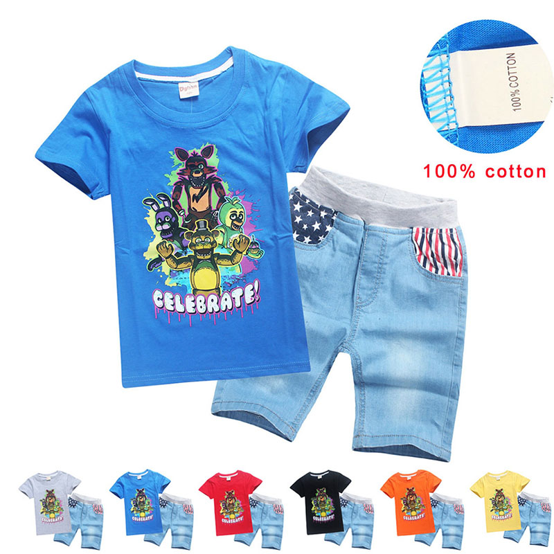 Child Boys Funny Five Nights At Freddy Game Costume Baby Kids Blue Cool Cotton T-shirt Denim Jeans Shorts Graphic Tees For 6-12T