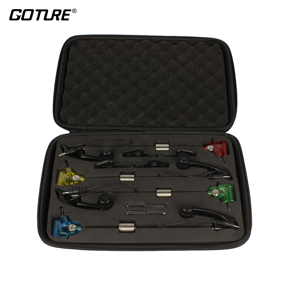 Goture 4 pcs LED Carp Fishing Swinger in Case illuminated Swinger Set Fish Bell/Alarm Carp Fishing Tackle