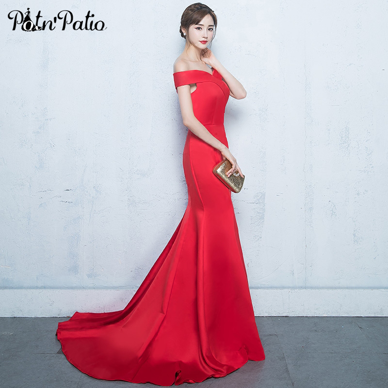 PotN'Patio Sexy Boat Neck Mermaid   Evening     Dresses   Sweep Train Off The Shoulder Sleeveless Red Formal   Evening   Gown Long 2018 New