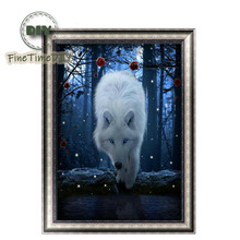 FineTime 5D Wolf DIY Diamond Painting Partial Round Drill Diamond Embroidery Animals Cross Stitch Mosaic Painting finetime 5d cats tigers diy animals diamond painting partial round drill diamond embroidery mosaic cross stitch