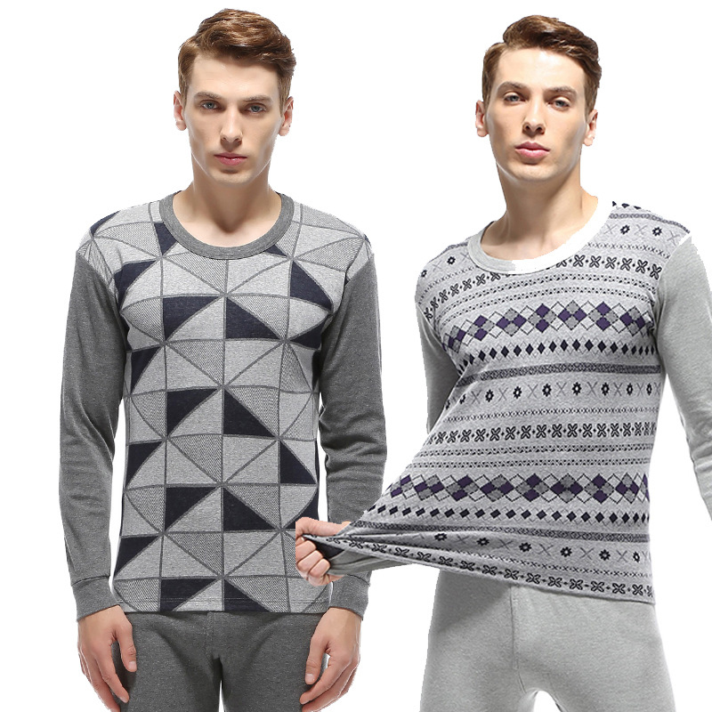 Fashion Geometric Jacquard Cotton Long Johns Set Pajamas Men High Quality Warm Winter Long Sleeve Thermal Clothing Men Underwear