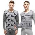 Moda geométrica de algodón jacquard calzoncillos largos establece pijamas de los hombres de alta calidad caliente del invierno de manga larga ropa térmica men underwear